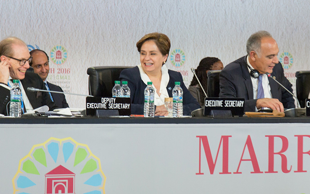 Patricia Espinosa, the new Executive Secretary of UNFCCC, at Marrakech conference, Nov 2016
